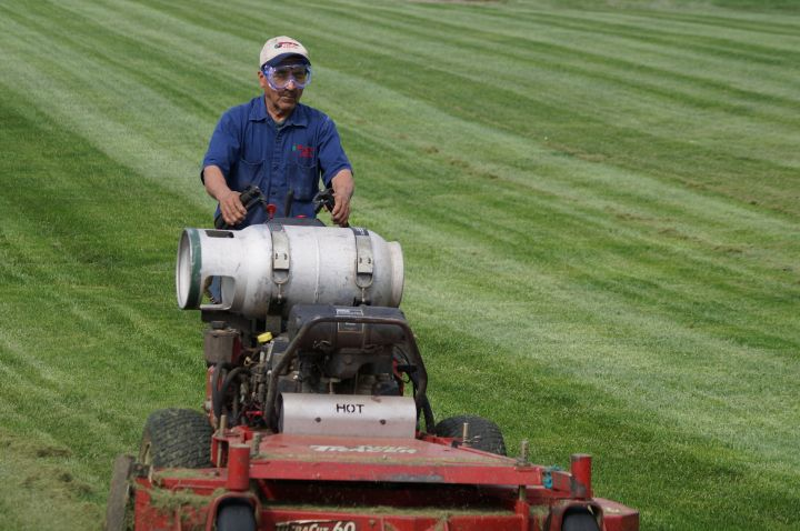Bluegrass employee on commercial lawn mower